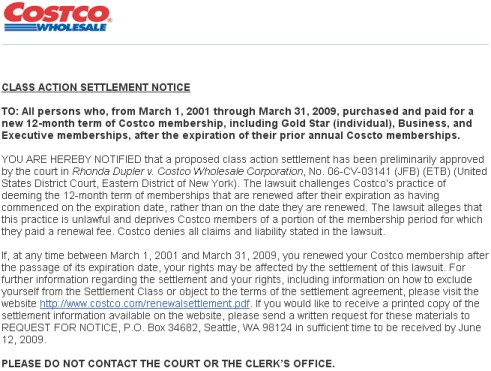 Costco Class Action Summary Notice