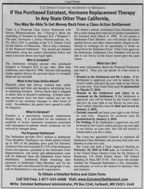 Estratest Hormone Replacement Therapy Class Action Lawsuit Settlement Notice