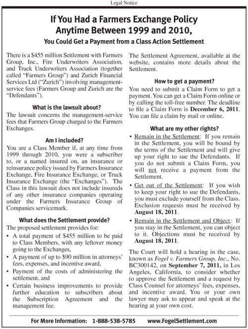Fogel v. Farmers Insurance Settlement Notice