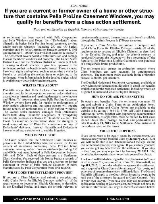 Pella Window Settlement Notice