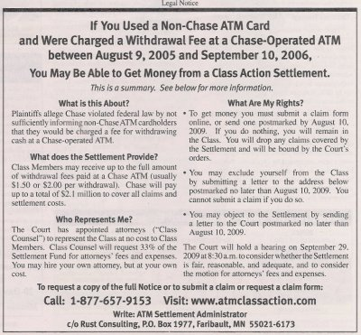 Chase ATM Fee Class Action Summary Notice