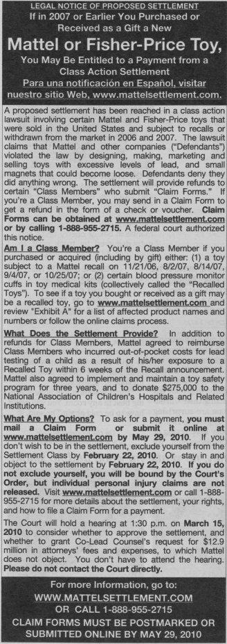 Mattel Toys Lead Paint Class Action Lawsuit Settlement Notice