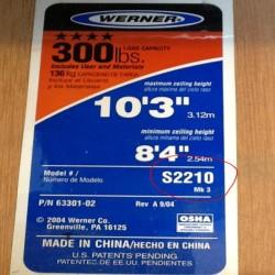 Werner attic ladder label