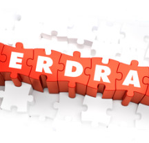 Overdraft - White Word on Red Puzzles on White Background. 3D Render.