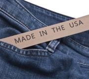 Denim Blue Jeans with Made in the USA tag.