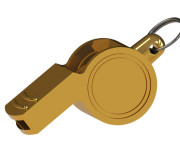 golden whistle isolated on white background