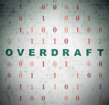 Finance concept: Painted green text Overdraft on Digital Paper background with Binary Code